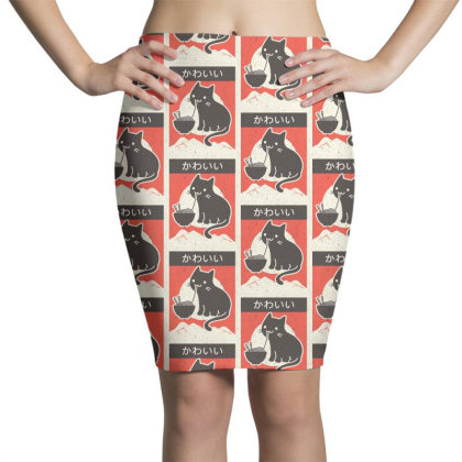 Vintage Style Japenese Ramen Cat Pencil Skirts Designed By Pinkanzee