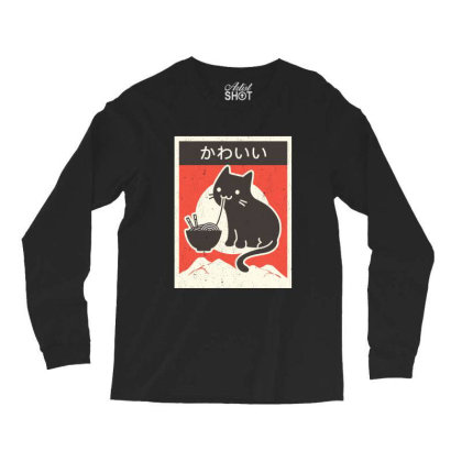 Vintage Style Japenese Ramen Cat Long Sleeve Shirts Designed By Pinkanzee