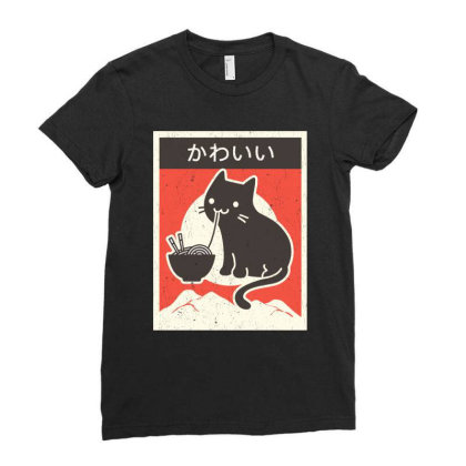 Vintage Style Japenese Ramen Cat Ladies Fitted T-shirt Designed By Pinkanzee