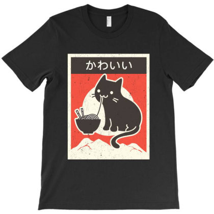 Vintage Style Japenese Ramen Cat T-shirt Designed By Pinkanzee
