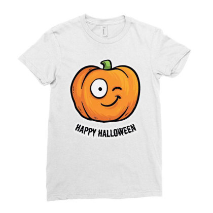 Happy Halloween Ladies Fitted T-shirt Designed By Pinkanzee
