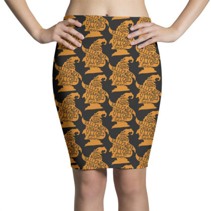 Happy Halloween Day Pencil Skirts Designed By Pinkanzee