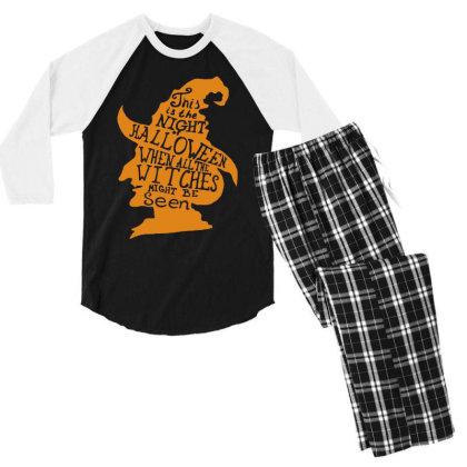 Happy Halloween Day Men's 3/4 Sleeve Pajama Set Designed By Pinkanzee