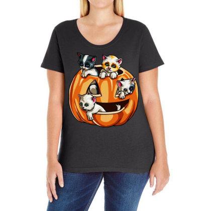 Halloween Cats Ladies Curvy T-shirt Designed By Pinkanzee