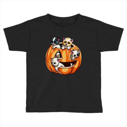 Halloween Cats Toddler T-shirt Designed By Pinkanzee
