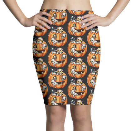 Halloween Cats Pencil Skirts Designed By Pinkanzee