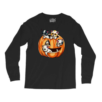 Halloween Cats Long Sleeve Shirts Designed By Pinkanzee