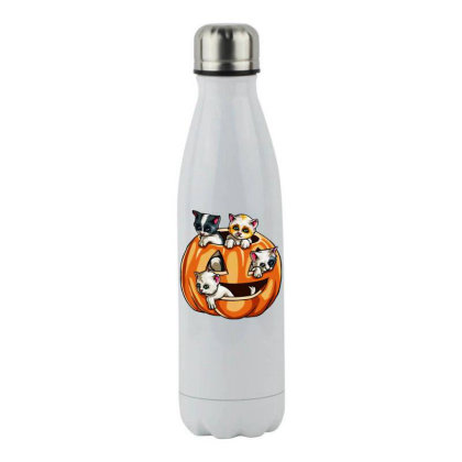 Halloween Cats Stainless Steel Water Bottle Designed By Pinkanzee
