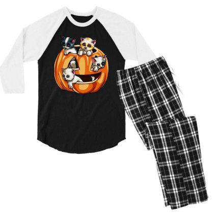 Halloween Cats Men's 3/4 Sleeve Pajama Set Designed By Pinkanzee