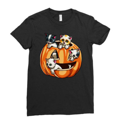 Halloween Cats Ladies Fitted T-shirt Designed By Pinkanzee