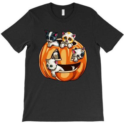 Halloween Cats T-shirt Designed By Pinkanzee
