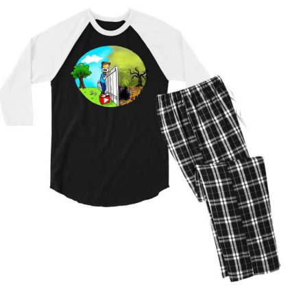 The Other Side Men's 3/4 Sleeve Pajama Set Designed By Pinkanzee