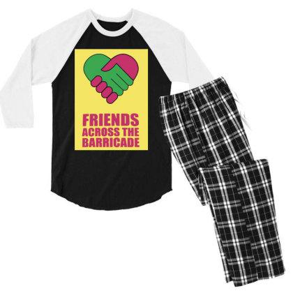 Friends Across Men's 3/4 Sleeve Pajama Set Designed By Pinkanzee