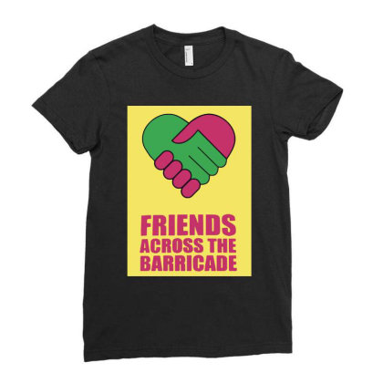 Friends Across Ladies Fitted T-shirt Designed By Pinkanzee