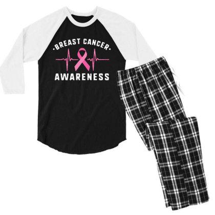 Breast Cancer Men's 3/4 Sleeve Pajama Set Designed By Pinkanzee