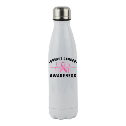 Breast Cancer Stainless Steel Water Bottle Designed By Pinkanzee