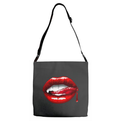 Bloody Lips Adjustable Strap Totes Designed By Pinkanzee