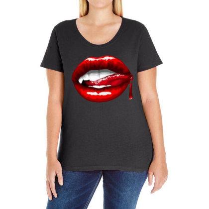 Bloody Lips Ladies Curvy T-shirt Designed By Pinkanzee
