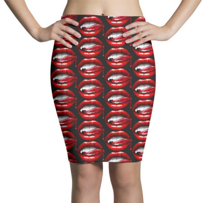 Bloody Lips Pencil Skirts Designed By Pinkanzee