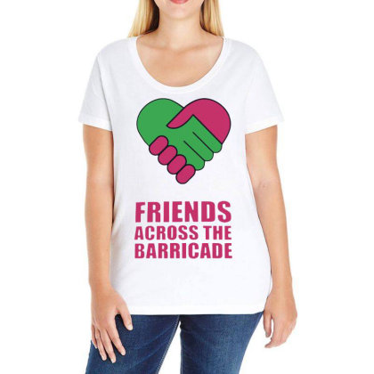 Awesome Friends Across Ladies Curvy T-shirt Designed By Pinkanzee
