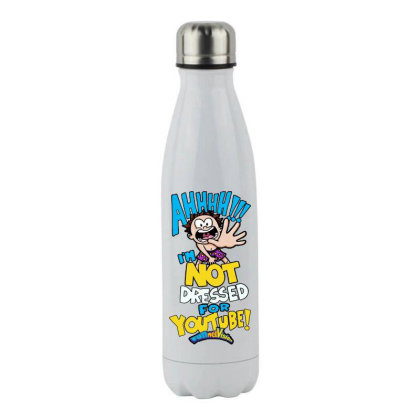 Ahh! Not Dressed For Youtube Stainless Steel Water Bottle Designed By Pinkanzee