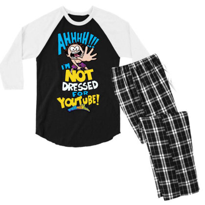 Ahh! Not Dressed For Youtube Men's 3/4 Sleeve Pajama Set Designed By Pinkanzee