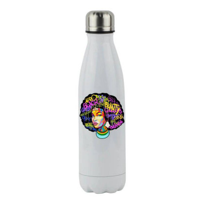 Woman Hair Stainless Steel Water Bottle Designed By Pinkanzee