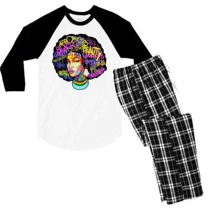 Woman Hair Men's 3/4 Sleeve Pajama Set Designed By Pinkanzee