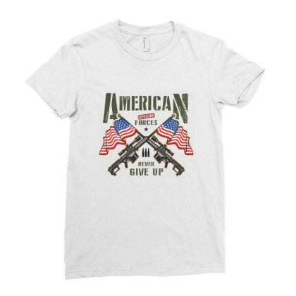 American Special Forces Never Give Up Ladies Fitted T-shirt Designed By Estore