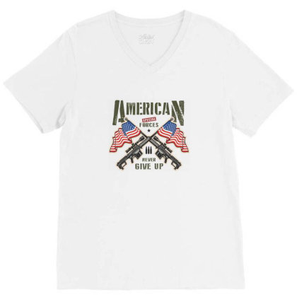 American Special Forces Never Give Up V-neck Tee Designed By Estore