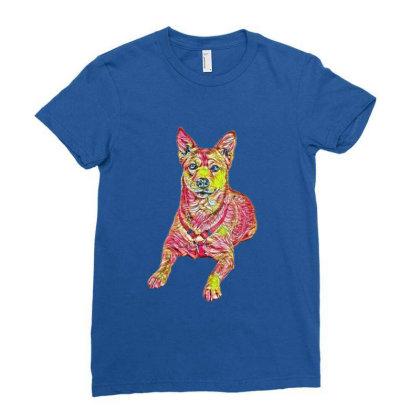 Alert Shiba Inu And Carolina Ladies Fitted T-shirt Designed By Kemnabi