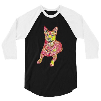 Alert Shiba Inu And Carolina 3/4 Sleeve Shirt Designed By Kemnabi