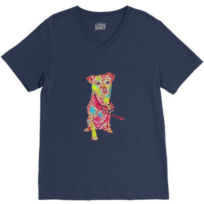 A Cute Chihuahua And Terrier V-neck Tee Designed By Kemnabi
