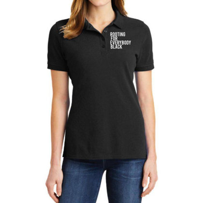 Rooting For Everybody Black Ladies Polo Shirt Designed By Feniavey