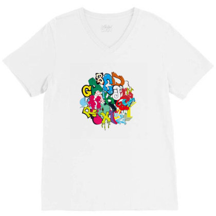 Graffiti V-neck Tee Designed By Disgus_thing