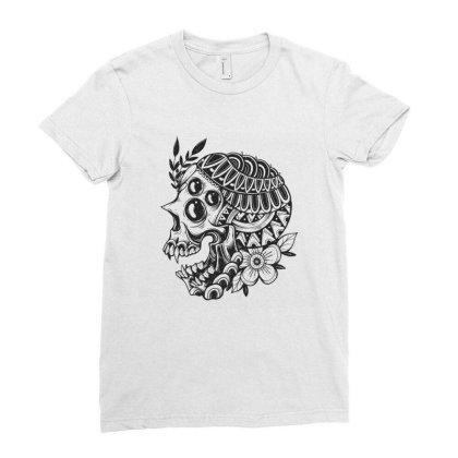 Botanical Skull Ladies Fitted T-shirt Designed By Godzillarge