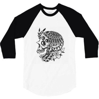 Botanical Skull 3/4 Sleeve Shirt Designed By Godzillarge