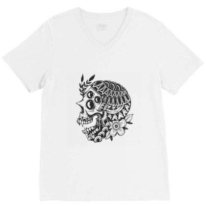 Botanical Skull V-neck Tee Designed By Godzillarge