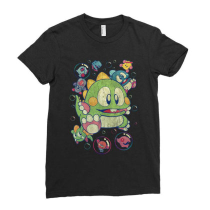 Bubble Bobble Vintage Action Ladies Fitted T-shirt Designed By Mrt90