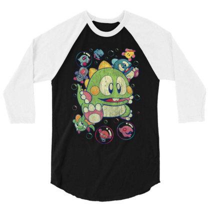 Bubble Bobble Vintage Action 3/4 Sleeve Shirt Designed By Mrt90