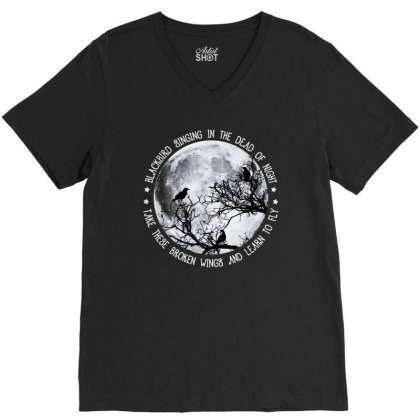 Blackbird Singing In The Dead Of Night V-neck Tee Designed By Best Selling