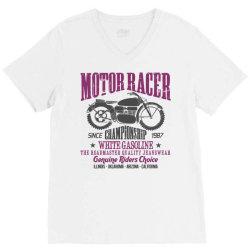 motorcycle biker rider V-Neck Tee | Artistshot