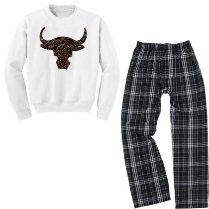 Bull Art Youth Sweatshirt Pajama Set Designed By Bani.k