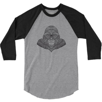 Gorilla, Monkey 3/4 Sleeve Shirt Designed By Estore