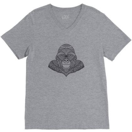Gorilla, Monkey V-neck Tee Designed By Estore