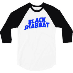 black shabbat music band in blue text 3/4 Sleeve Shirt | Artistshot
