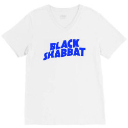 black shabbat music band in blue text V-Neck Tee | Artistshot