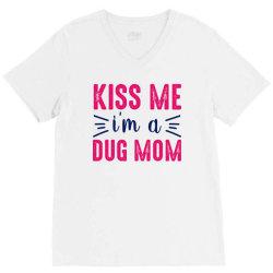 kiss me dug mama V-Neck Tee   Artistshot