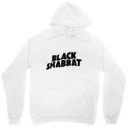 black shabbat in black text Unisex Hoodie   Artistshot