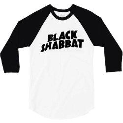 black shabbat in black text 3/4 Sleeve Shirt   Artistshot